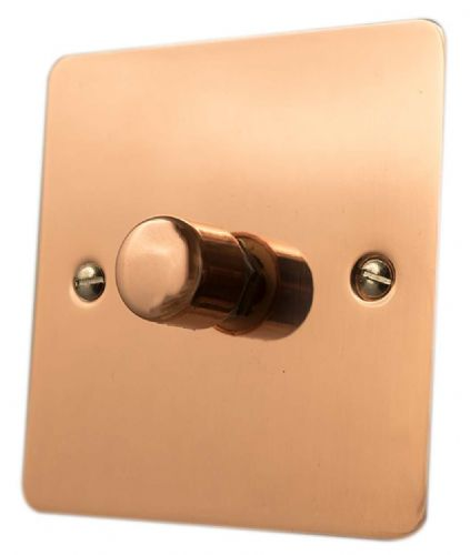 G&H FBC11 Flat Plate Bright Copper 1 Gang 1 or 2 Way 40-400W Dimmer Switch